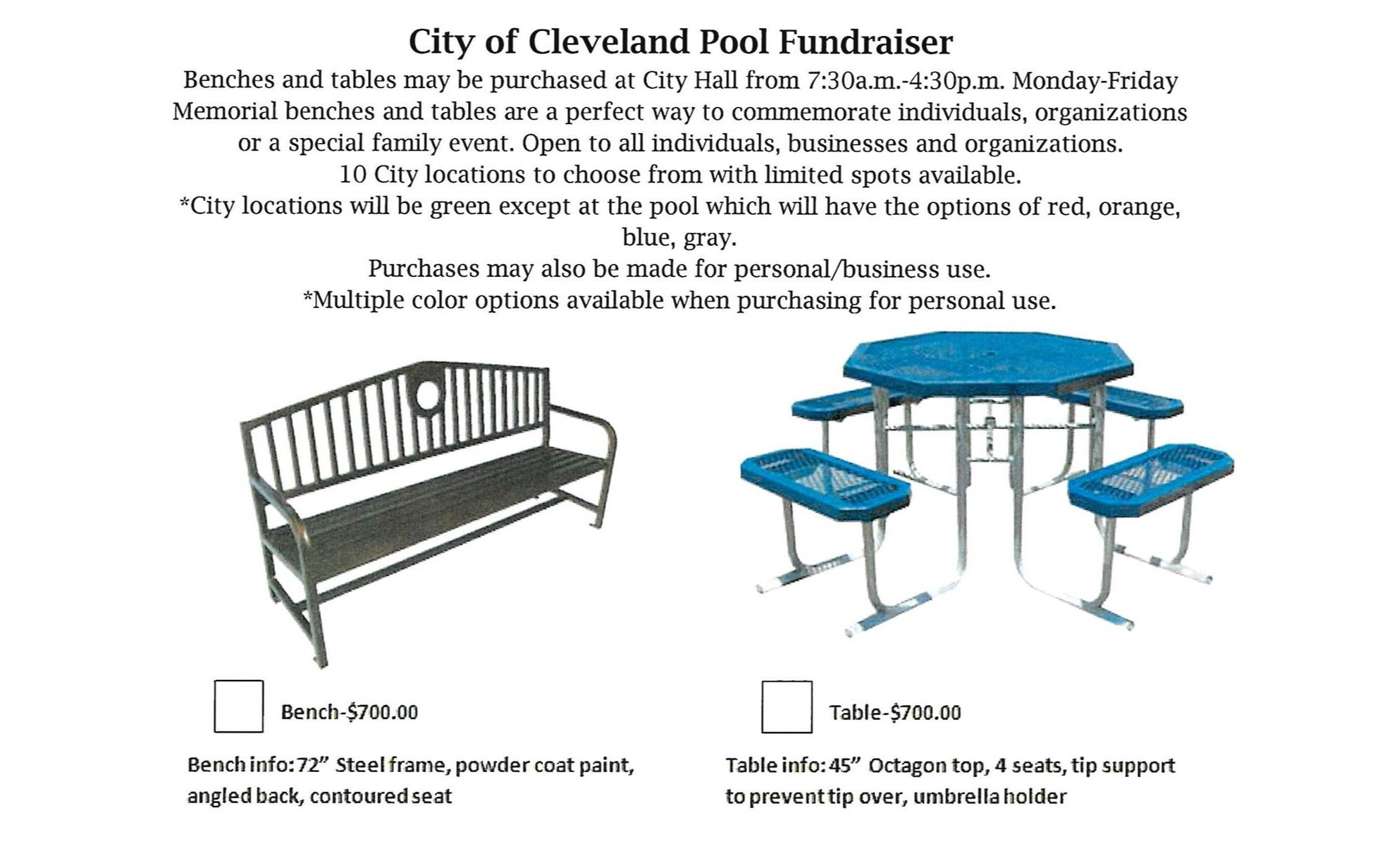 Pool Benches/Tables, Fundraiser